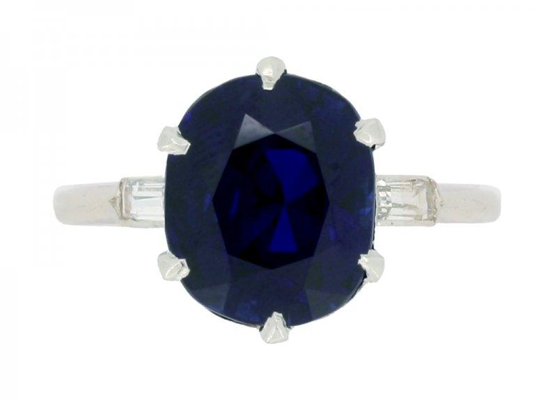 front view Boucheron Paris solitaire Burmese sapphire and diamond ring