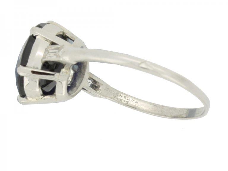 mark view Boucheron Paris solitaire Burmese sapphire and diamond ring