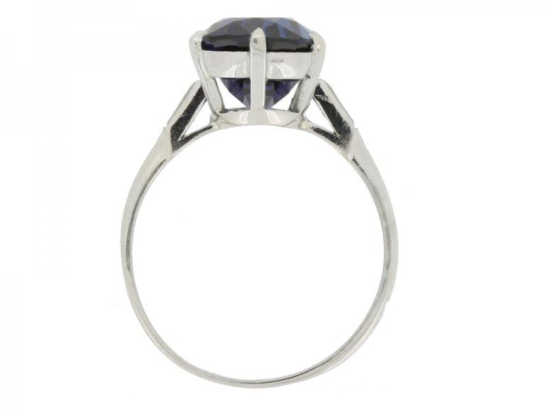 back view Boucheron Paris solitaire Burmese sapphire and diamond ring