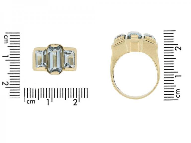 size view Vintage aquamarine dress ring, circa 1950s.