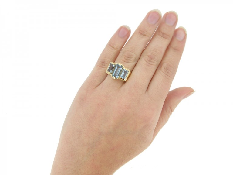 hand view Vintage aquamarine dress ring, circa 1950s.