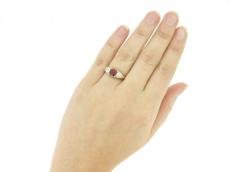 hand view Antique spinel and diamond three stone ring