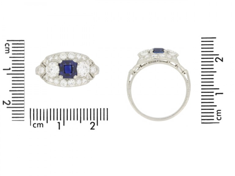 size view Sapphire and diamond cluster engagement ring