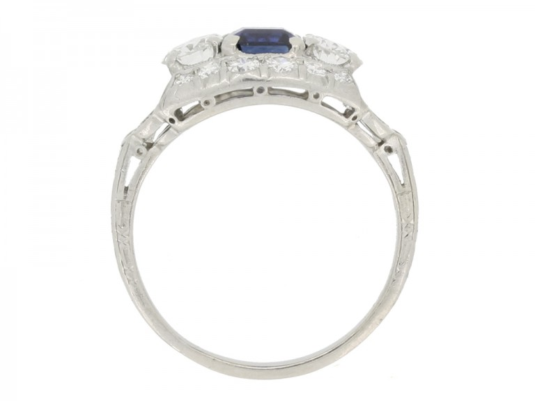 back view Sapphire and diamond cluster engagement ring