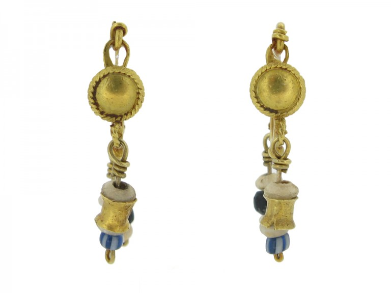 front view Ancient Roman gold and glass bead earrings