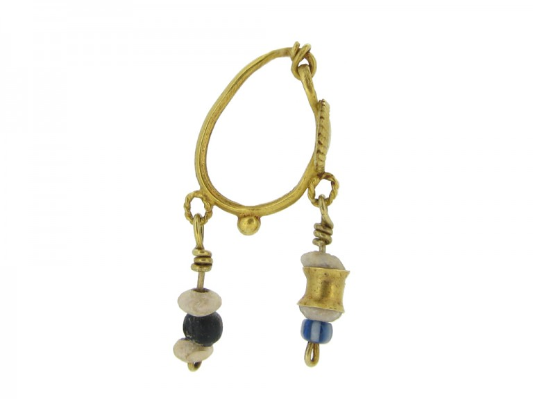 Ancient Roman gold and glass bead earrings