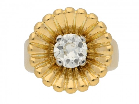 front view antique yellow gold diamond ring berganza hatton garden