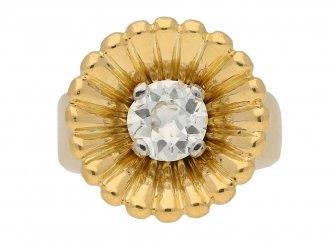 front view antique yellow gold diamond ring berganza hatton garden