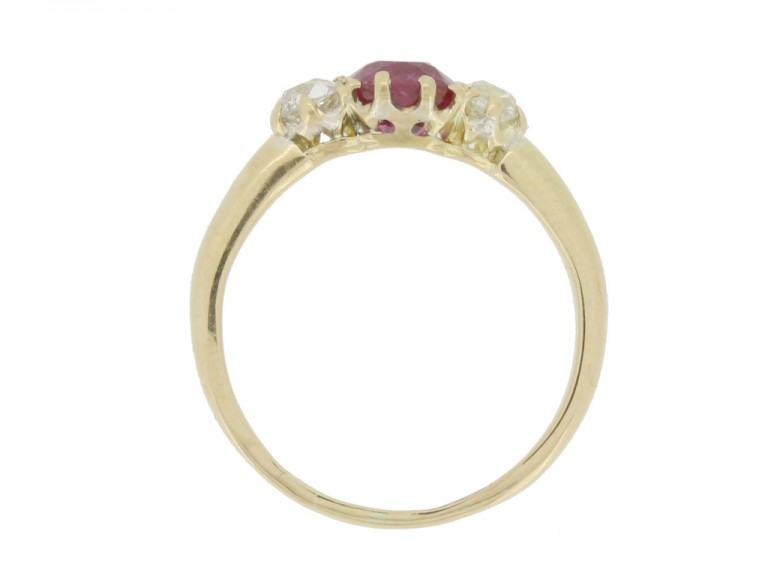 back view Antique ruby and diamond three stone engagement ring