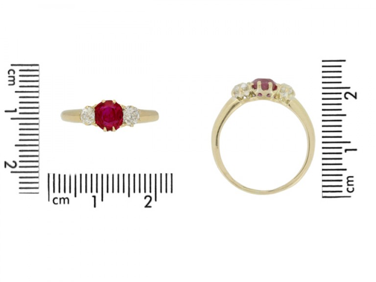 size view Antique ruby and diamond three stone engagement ring