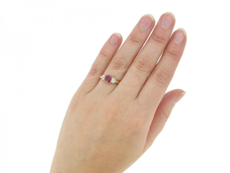 hand view Antique ruby and diamond three stone engagement ring