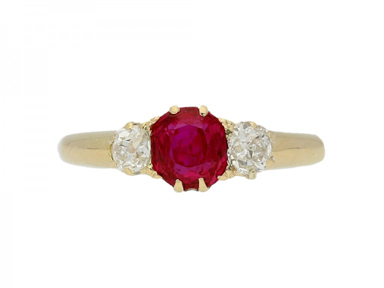 front view Antique ruby and diamond three stone engagement ring