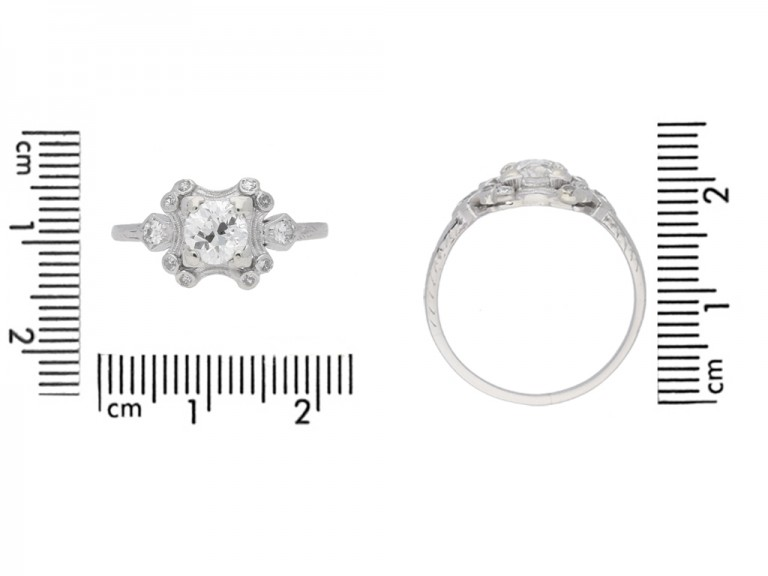 size view Diamond cluster engagement ring, American, circa 1920.