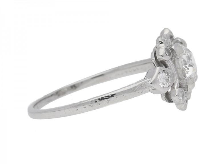 side view Diamond cluster engagement ring, American, circa 1920.