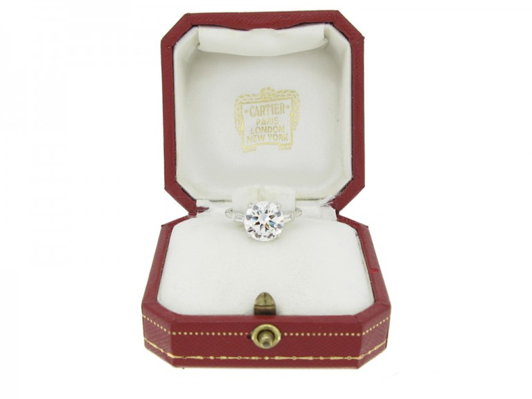 boxed view Cartier solitaire diamond engagement ring, French, circa 1950.