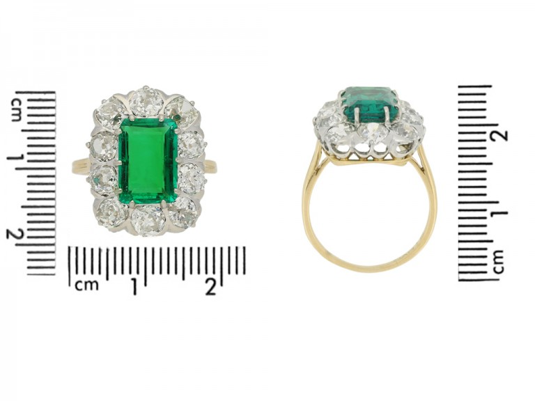 size view Chaumet emerald diamond ring berganza hatton garden