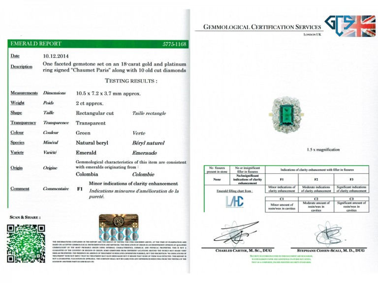 cert view Chaumet emerald diamond ring berganza hatton garden