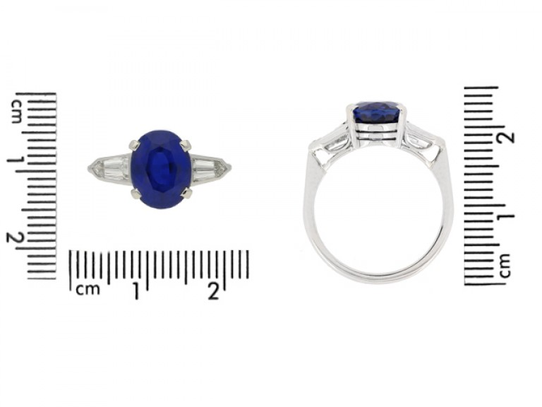 size view Natural 'Royal Blue' Burmese sapphire and diamond ring, circa 1950.