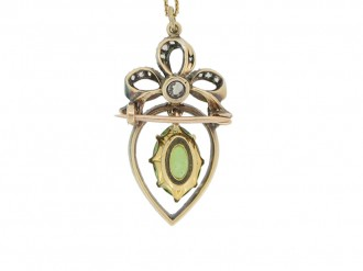 front view Victorian peridot and diamond pendant,