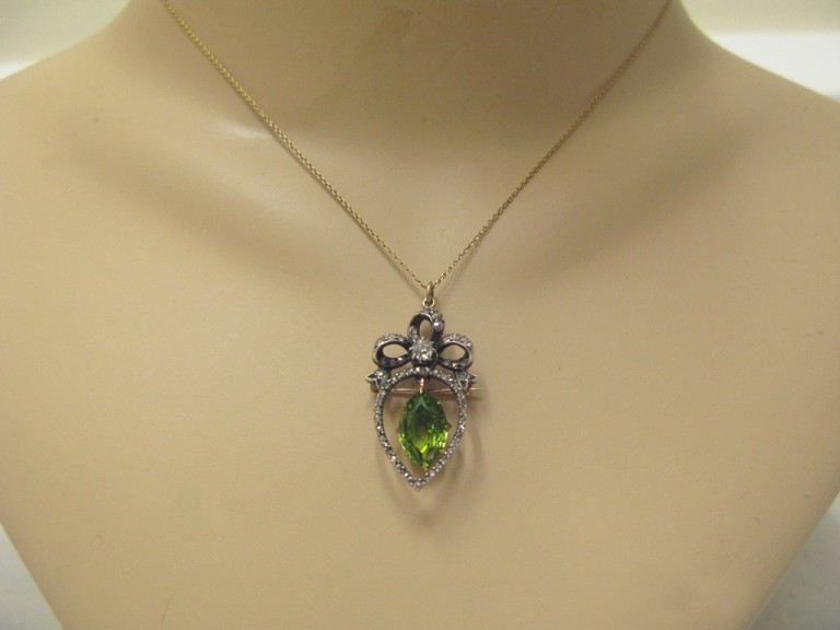 Victorian peridot and diamond pendant,