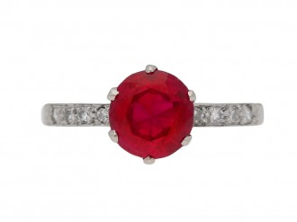 Burmese ruby and diamond ring ,circa 1920 berganza hatton garden
