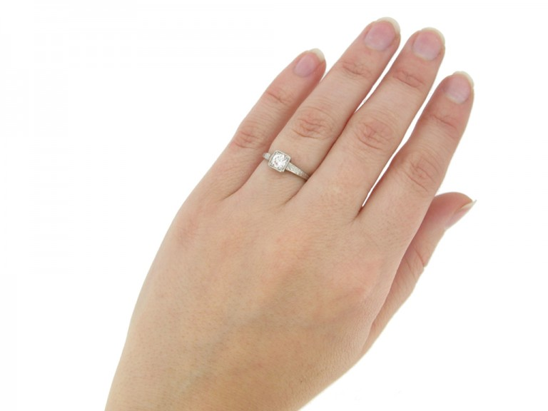 hand view Tiffany & Co. Art Deco solitaire diamond ring