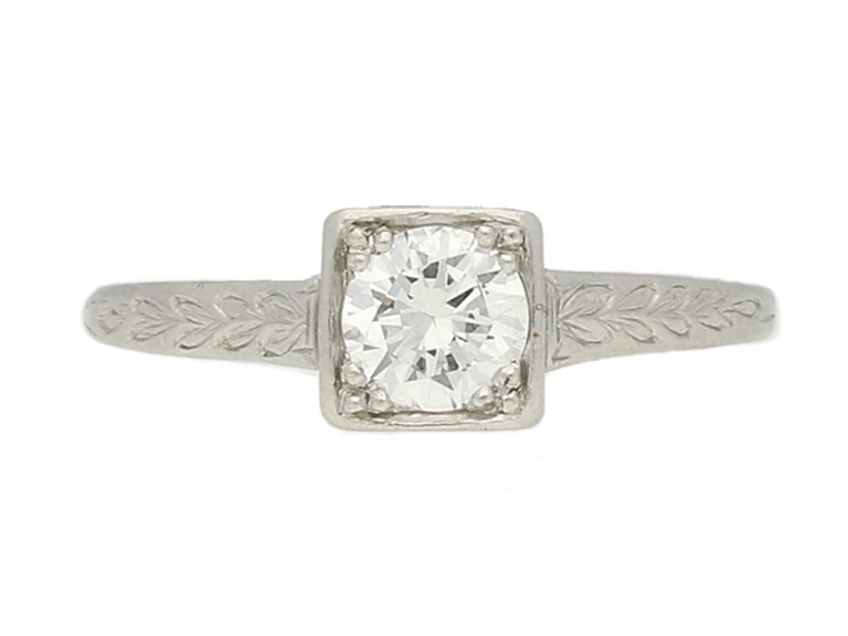 ront view Tiffany & Co. Art Deco solitaire diamond ring