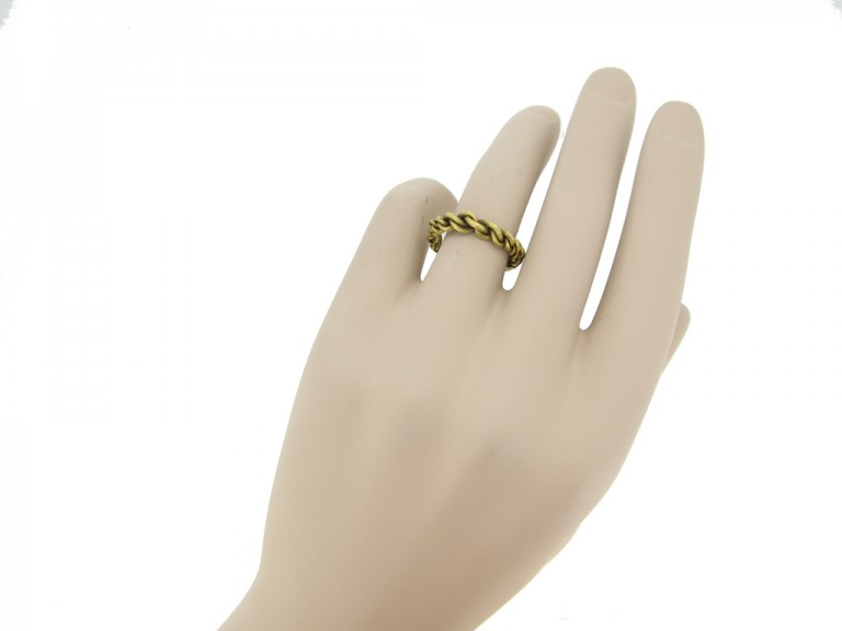 hand view Viking gold plaited ring