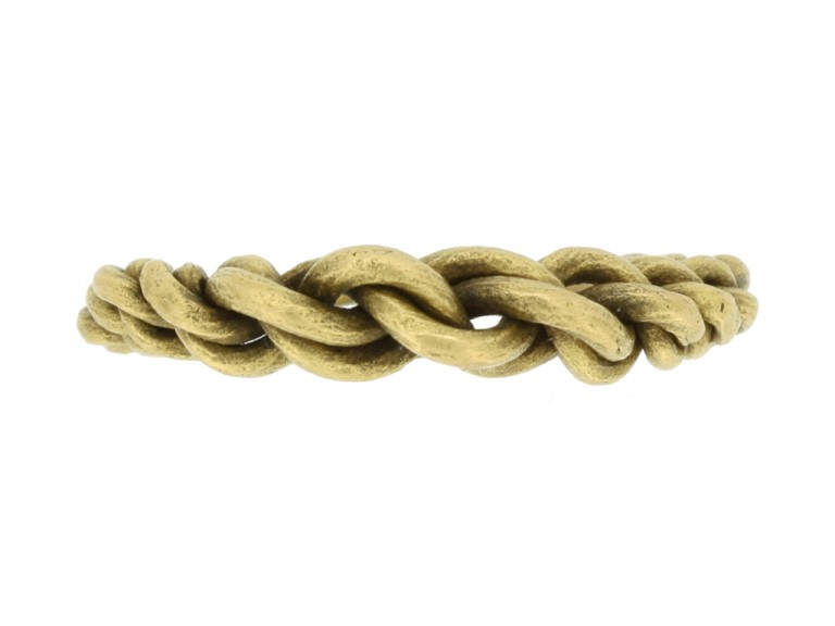 front view Viking gold plaited ring