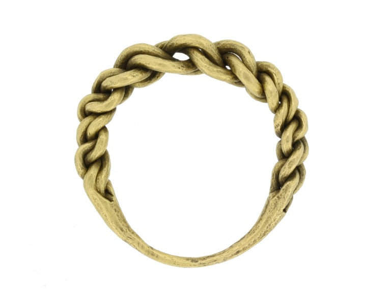 back view Viking gold plaited ring