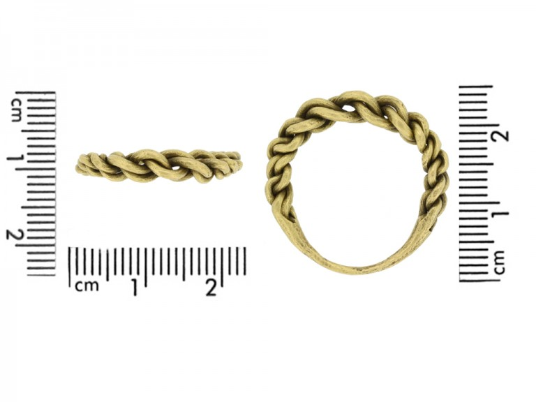 size view Viking gold plaited ring