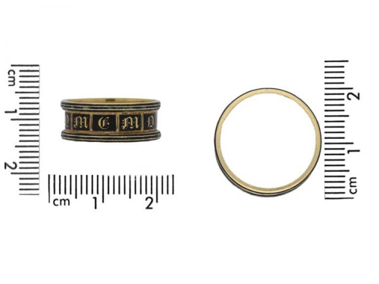 size view Georgian enamel and gold mourning ring, English, circa 1834.