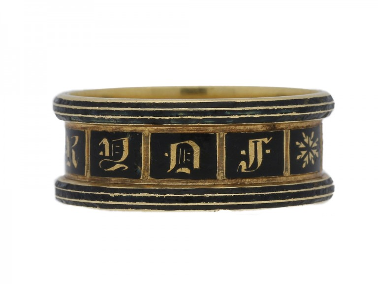 front view Georgian enamel and gold mourning ring, English, circa 1834.