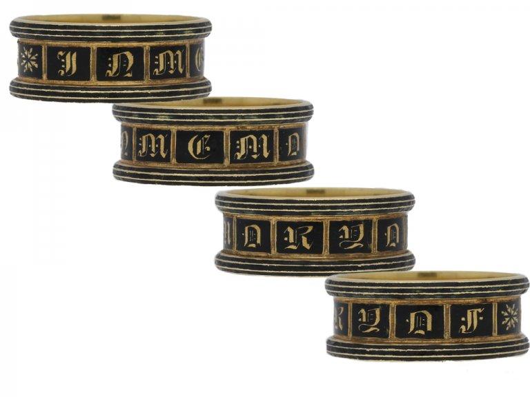 multi view Georgian enamel and gold mourning ring, English, circa 1834.