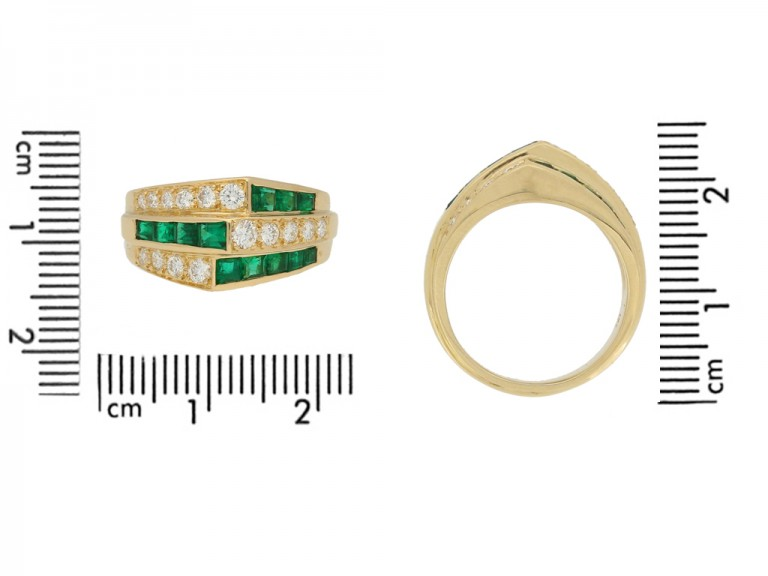size view Oscar Heyman Brothers emerald and diamond ring