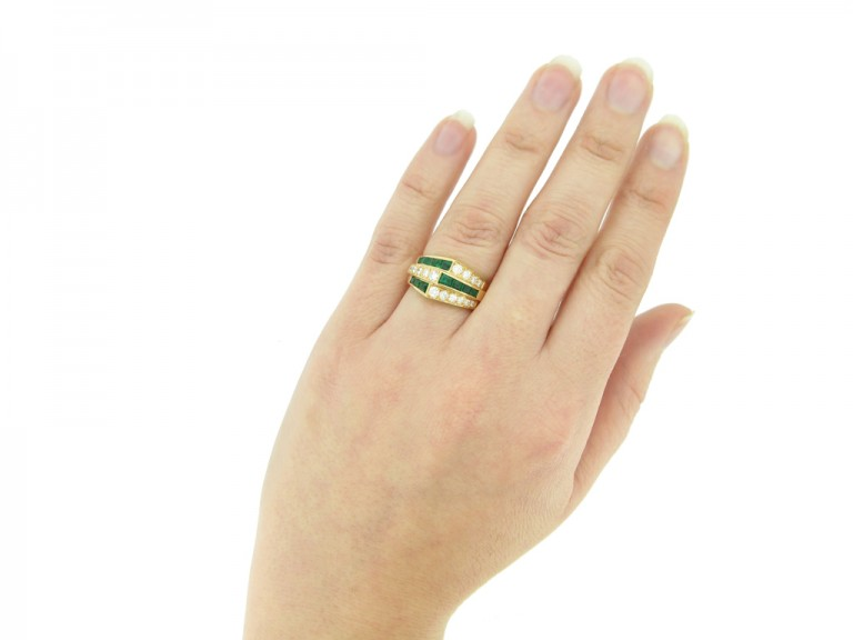hand view Oscar Heyman Brothers emerald and diamond ring