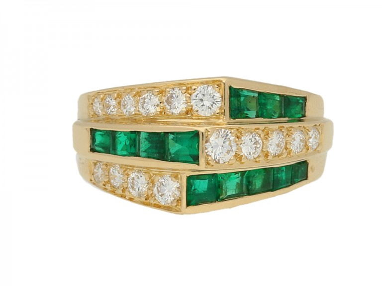 front view Oscar Heyman Brothers emerald and diamond ring
