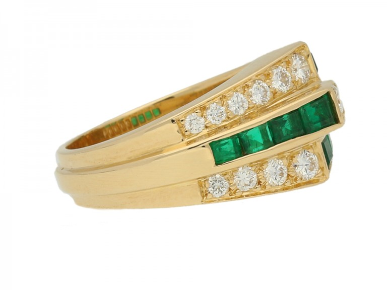 side view Oscar Heyman Brothers emerald and diamond ring