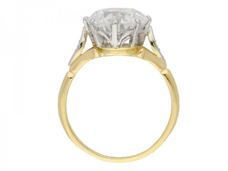 back view Edwardian solitaire diamond ring, circa 1910.