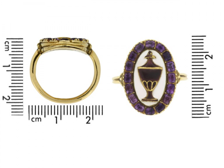 size view Georgian amethyst and enamel mourning ring