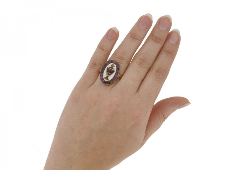 hand view Georgian amethyst and enamel mourning ring