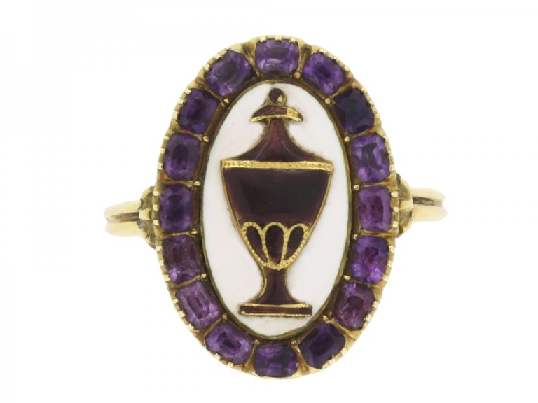 front view Georgian amethyst and enamel mourning ring