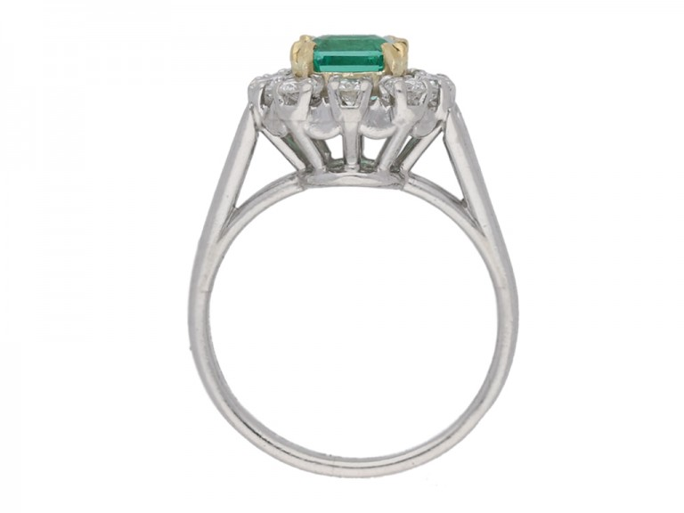 back view Vintage Colombian emerald and diamond cluster ring, French, circa 1950s.