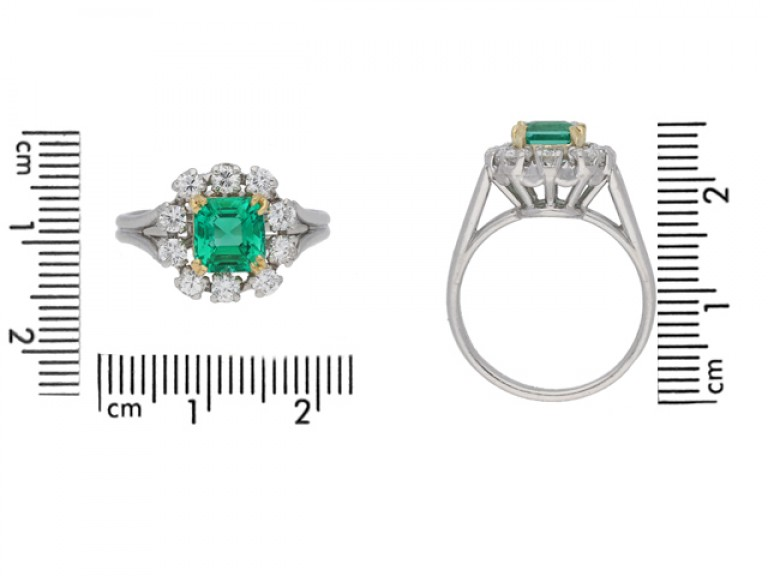 size view Vintage Colombian emerald and diamond cluster ring, French, circa 1950s.