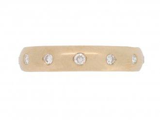 front view Diamond set wedding ring in rose gold, circa 1950.