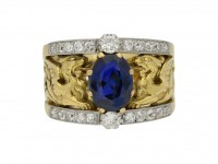 front view Art Nouveau natural sapphire and diamond carved ring