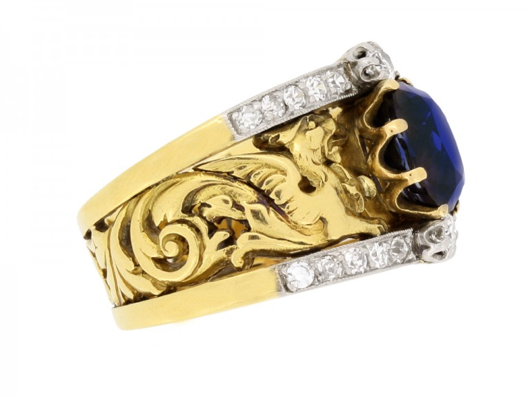 side view Art Nouveau natural sapphire and diamond carved ring