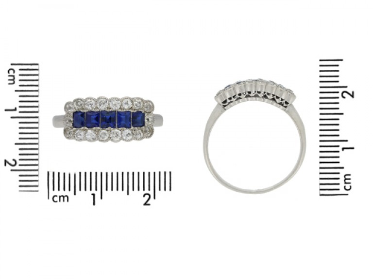 size view Five stone sapphire and diamond cluster ring, circa 1915.
