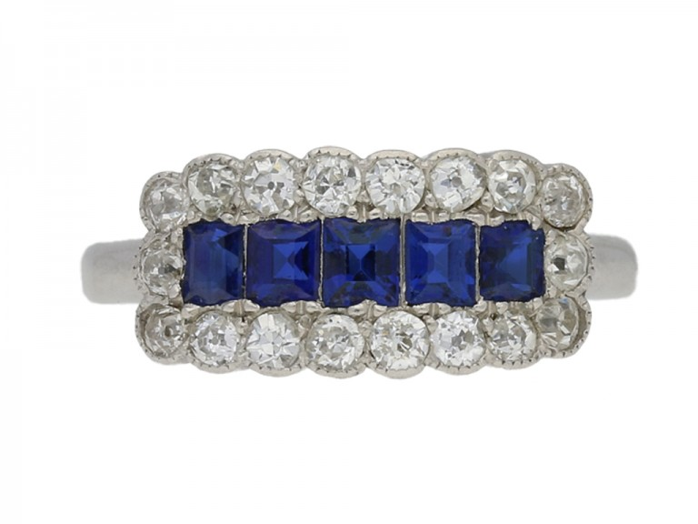 front view Five stone sapphire and diamond cluster ring, circa 1915.