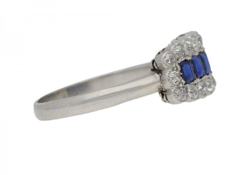 side view Five stone sapphire and diamond cluster ring, circa 1915.